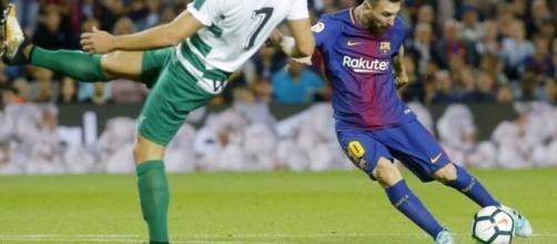 Messi en una acción del partido contra el Eibar