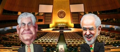 Rex Tillerson (U.S.) Mohammad Javad Zarif (Iran), UN General Assembly. / [Image by Donkey Hotey/Patrick Gruban via Flickr, CC BY(SA) 2.0]