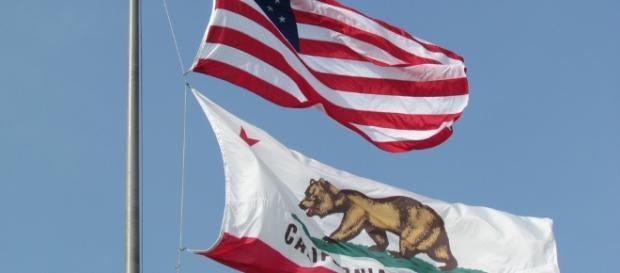US National Flag and California State Flag, City Hall, Santa Monica Ed Uthman/Flickr