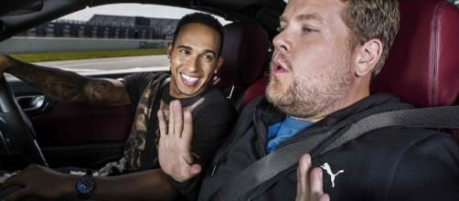 James Corden with Lewis Hamilton. Photo: Tom Oldham/Creative Commons