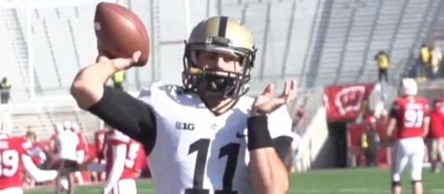 Purdue QB David Blough will face the tough Michigan defense this afternoon. [Image via YouTube NBA]