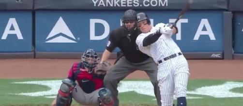 The Yankees' Aaron Judge connected on a Bartolo Colon pitch in the third inning to hit his 45th home run of the season. [Image via MLB/YouTube]