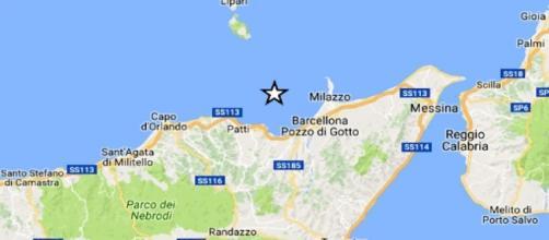 Trremoto di magnitudo 3.1 in mare al largo di Furnari, Messina - foto infomessina.it