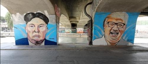 Two dictators super-imposed https://commons.wikimedia.org/wiki/File:Wien_-_Donald-Trump-_und_Kim-Jong-un-Graffiti_von_Lush_Sux.JPG