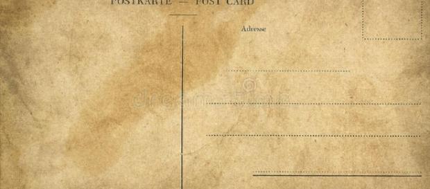Esempio di cartolina postale. La prima cartolina postale fu inviata il primo ottobre 1869.