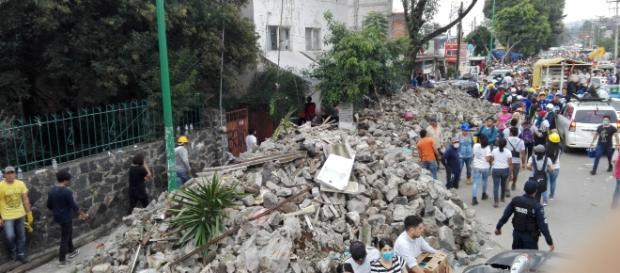Los escombros en San Gregorio, Xochimilco