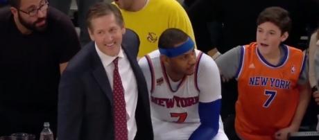 Knicks head coach Jeff Hornacek and Carmelo Anthony Youtube screen grab - Knicks