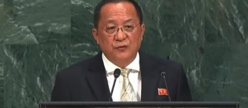 North Korean foreign minister Ri Yong-ho at UN General Assembly. / [Screenshot from United Nations via YouTube:https://youtu.be/vKBrIKS0pnA]