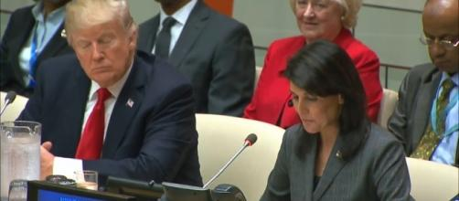 President Trump with Nikki Haley at United Nations. / [Screenshot from U.S. Department of State via YouTube:https://youtu.be/sdZrB6yiNVM]