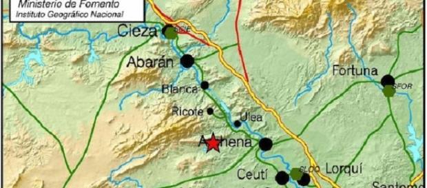 Donde se ubica la estrella roja es el epicentro del temblor (Instituto Geográfico Nacional)