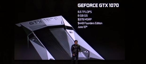 NVIDIA CEO Jen-Hsun Huang during the announcement of the GeForce GTX 1070 (via YouTube - NVIDIA)