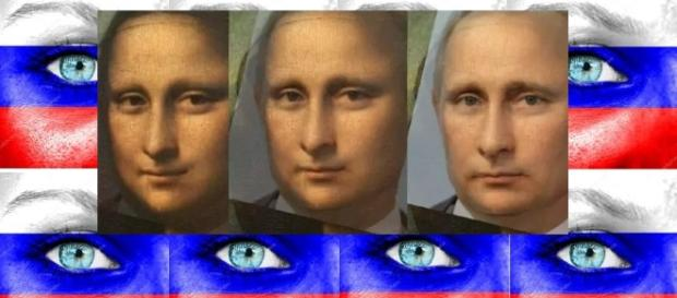 "Pintura cômica de Monalisa até Putin ilustrando a ""eternidade"" de Putin no Poder"