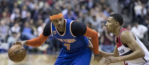Carmelo has been traded -Photo by Keith Allison-https://commons.wikimedia.org/wiki/File:Carmelo_Anthony,_Otto_Porter_Jr._(31828934463).jpg