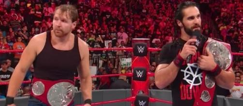 Dean Ambrose and Seth Rollins defend the 'Raw' tag team titles at Sunday's 'No Mercy 2017' PPV. [Image via WWE/YouTube]