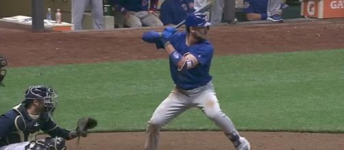Kris Bryant and the Cubs picked up an extra-innings victory over the Brewers on Friday night. [Image via MLB/YouTube]