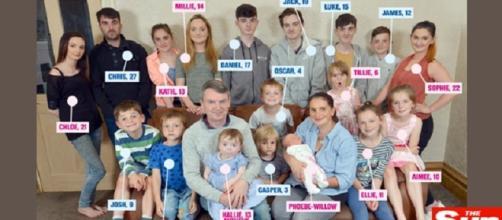 Maior família da Grã-Bretanha. Foto: reprodução/Facebook
