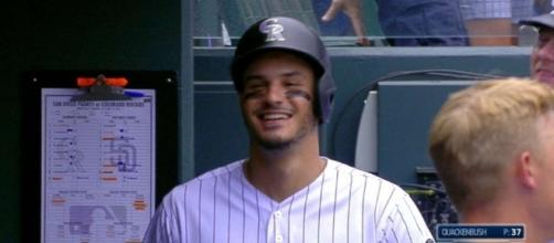 Nolan Arenado helped the Rockies snap their recent scoreless slump and pick up a win against the Padres on Friday night. [Image via MLB/YouTube]