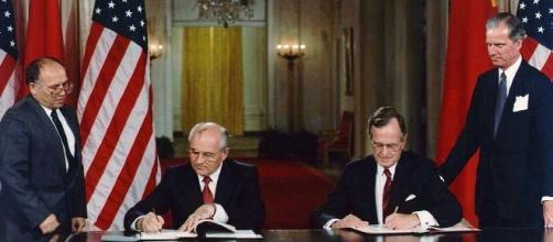 President George H. W. Bush and President Mikhail Gorbachev/Wikimedia Commons