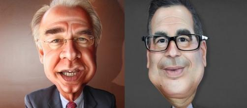 Secretaries Tom Price (Health & Human Services), Steve Mnuchin (Treasury Dept). [Image Credits: DonkeyHotey/ Flickr, CC BY 2.0)