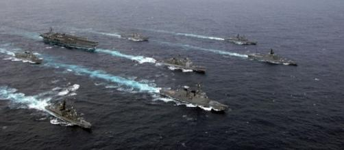 U.S. Navy with Japanese Maritime Self Defense Force (Credit - MCC SPIKE CALL - Wikimedia Commons)