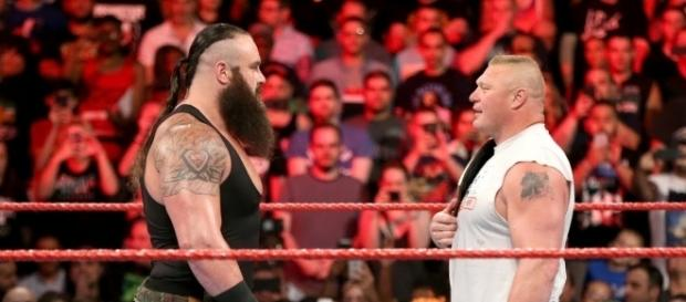 Braun Strowman and Brock Lesnar go on-on-one at Sunday's 'No Mercy' PPV. [Image via WWE/YouTube]