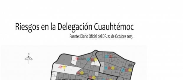 Riesgos observados en la Delegación Cuauhtémoc (Gráfico: Oscar Patiño).