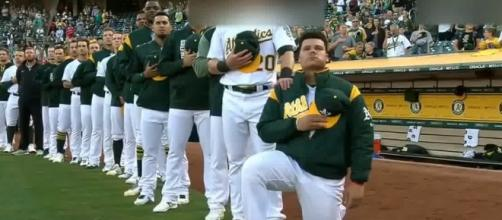 Bruce Maxwell continued the confllict between Trump and the US sports stars. [Image Credit: 2017 FlashTrendinG/YouTube]