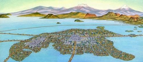 Ilustración de Tenochtitlán en su esplendor máximo.