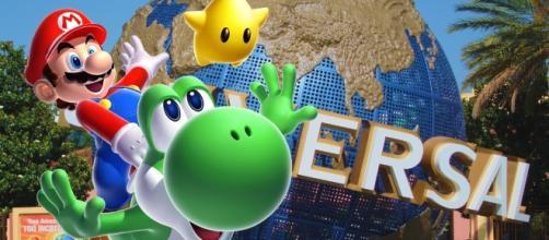 Logomarca da Universal Studios com Mario & Yoshi mais a estrela do jogo