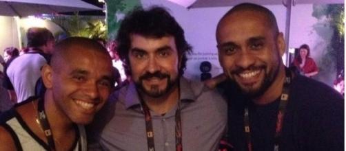 Padre Fábio de Melo tira foto com admiradores no 'Rock in Rio'