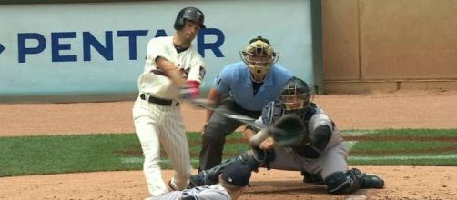 Zack Granite hit a two-run home run for the Twins on Saturday to help in their 10-4 win over Detroit. [Image via MLB/YouTube]