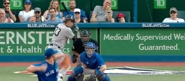 The Yankees' Greg Bird provided three RBIs in Saturday's 5-1 victory over Toronto. [Image via MLB/YouTube]