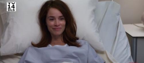 "Abigail Spencer is Megan Hunt in ""Grey's Anatomy"" season 14. [Image credit: ABC/YouTube]"