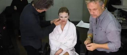 Applying prosthetics on Taylor Swift, Image Credit: Taylor Swift / YouTube