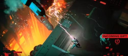 Beating bosses in 'Ruiner' will be very challenging. Photo via DevolverDigital/YouTube