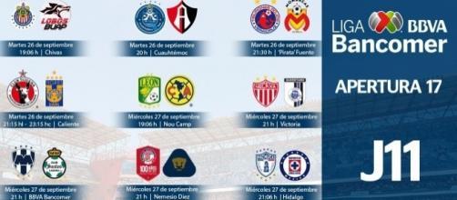 Horarios para la jornada 11 del futbol mexicano, luego de los sismos (Imagen tomada de la página de la FEMEXFUT)