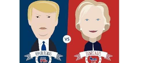 Illustration featuring Donald Trump and Hillary Clinton Image vie VectorOpenStock/wikimedia
