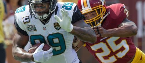 Marcedes Lewis had the first three-touchdown day of his career in Week 3. (Image Credit: Photo via Wikimedia Commons)