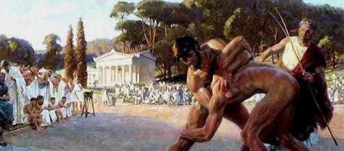 Representación de dos atletas en la Antigua Grecia