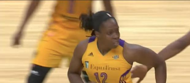 Chelsea Gray scored 27 points in a Game 1 WNBA Finals win for Los Angeles on Sunday. [Image via WNBA/YouTube]