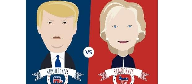 Illustration featuring Donald Trump and Hillary Clinton Image vie VectorOpenStock/wikimedia