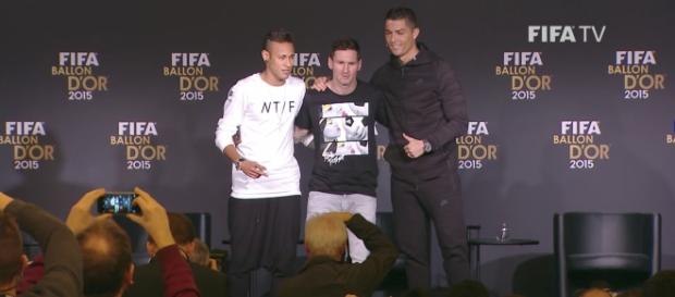 Neymar, Messi, and Ronaldo are all nominated for The Best player of the year. Credit to FIFATV, REPLAY: Ronaldo, Messi, Neymar PRESS TALK