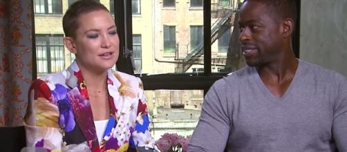 Kate Hudson debuts shaved head at the New York red carpet event. YouTube/ET