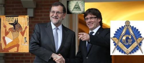 Rajoy y Puigdemont riendose y simbolos relacionados.