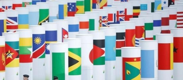 Representação do grande número de países que são favoraveis ao acordo de Paris