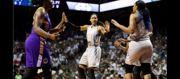 Tuesday night, Maya Moore and Minnesota will try to bounce back from a Game 1 loss against Los Angeles. [Image via WNBA/YouTube]
