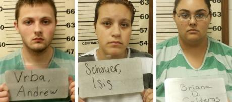 Andrew Vrba, Isis Schauer and Briana Calderas were charged with the murder of Ally Steinfeld. (Image Credit: Texas County Sheriff's Office)