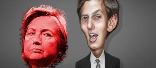 Hillary Clinton and Jared Kushner share email scandals. / [Image(s) by DonkeyHotey via Flickr, CC BY 2.0, edited by @JonMarkDraws]