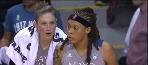 Lindsay Whalen, Seimone Augustus and the Lynx captured a two-point win over the Sparks in Game 2 of the WNBA Finals. [Image via WNBA/YouTube]