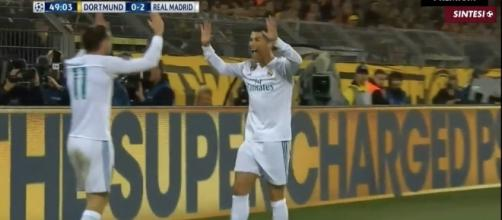 Ronaldo celebrating with Bale, after his assist. Image - Football Show Studio | YouTube